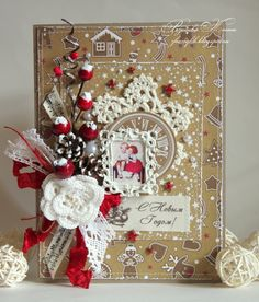"""My Hobby: Новогодние открыточки и МК """"Декабрьский дневник"""" для ScrapKitClub :)"""