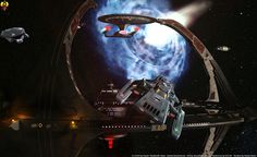 Star Trek Deep Space Nine 9 DS9 with wormhole and Runabout