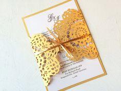 Gold Lace Wedding Invitation Laser Cut Wedding Invitation Custom Colors Available