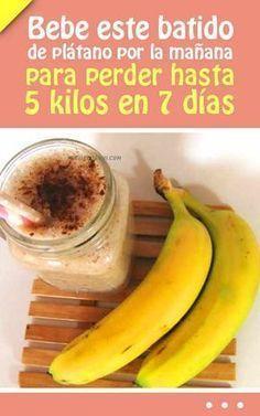 Bebe este batido de plátano por la mañana para perder hasta 5 kilos en 7 días #batido #bebida #plátano #banana #adelgazar #perderpeso #bajardepeso #dieta Best Healthy Diet, Healthy Juices, Healthy Drinks, Healthy Life, Healthy Snacks, Healthy Recipes, Smoothie Cleanse, Smoothie Recipes, Great Recipes