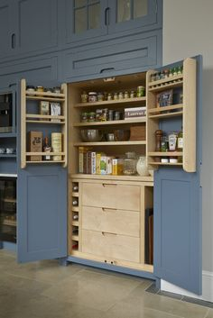 built-in kitchen pantry cabinet Kitchen Larder Cupboard, Kitchen Pantry Design, Diy Kitchen Storage, Kitchen Cabinets, Kitchen Ideas, Mexican Style Kitchens, Handleless Kitchen, Handmade Kitchens, Kitchen Remodel