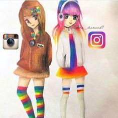Images by 745134700829831456 App Drawings, Art Drawings Sketches Simple, Pencil Art Drawings, Cool Drawings, Cute Disney Drawings, Cute Kawaii Drawings, Cartoon Girl Drawing, Cartoon Art, Social Media Art