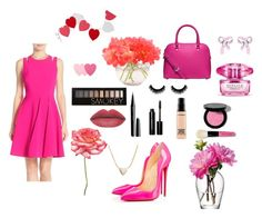 """Valentine's Day"" by courageousdolphin ❤ liked on Polyvore featuring Forever 21, Sephora Collection, Marc Jacobs, MAC Cosmetics, Bobbi Brown Cosmetics, Universal Lighting and Decor, Michael Kors, Chelsea28, Christian Louboutin and Versace"