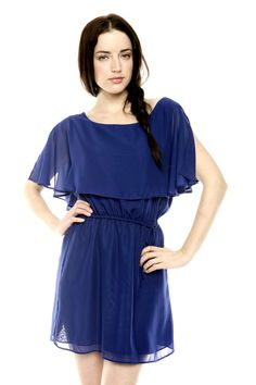 Fully-lined dress features boat neck with sheer overlay and elastic waist with self-tie belt. $42