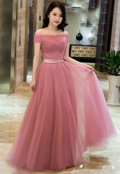 Elegant Pink A line Off Shoulder Prom Dresses,Tulle #prom #promdress #dress #eveningdress #evening #fashion #love #shopping #art #dress #women #mermaid #SEXY #SexyGirl #PromDresses