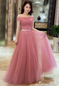 f69f72228bc Elegant Pink A line Off Shoulder Prom Dresses