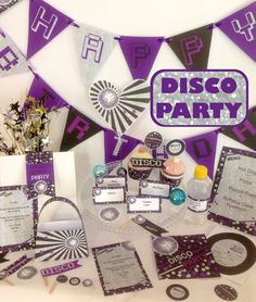 Disco Party Birthday DIY Printable Kit  - Sliver & Purple - INSTANT DOWNLOAD