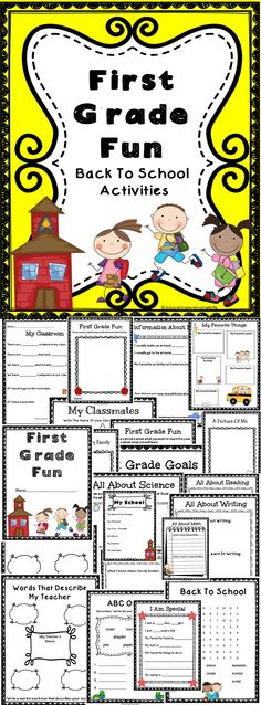 First Grade Fun - Get to know your students with this fun filled activity book for first grade students.  #education  #backtoschool  #tpt