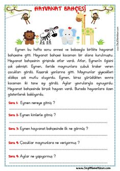 OKUMA ANLAMA METNİ – HAYVANAT BAHÇESİ - Seyit Ahmet Uzun – Eğitime Yeni Bir Bakış 1st Grade Worksheets, Preschool Worksheets, Math For Kids, Activities For Kids, Turkish Lessons, Learn Turkish Language, Classroom Rules, Free Preschool, Reading Passages