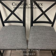 """Dining chairs refinished with Superior Paint Co. colour Black Mountain Black Chalk furniture paint and updated upholstery fabric with the pattern """"Curious"""" / Colour """"Onyx"""" Farmhouse Upholstery Fabric, Farmhouse Dining Chairs, Colour Black, Color, Black Mountain, Chalk Paint Furniture, Modern Farmhouse, Pattern, Collection"""