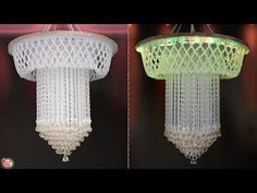 Chandelier Making from Pearls ! Pearl Chandelier, Hanging Chandelier, Art And Craft Videos, Diy Arts And Crafts, Jhumar, Butterfly Tree, Baby Frocks Designs, Easy Diy, Ceiling Lights