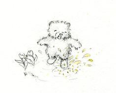 Teddy bear splashing a rain puddle