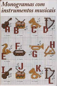 Alfabeto con instrumentos musicales, para punto de cruz.