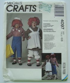Raggedy Ann and Andy Costume Sewing Pattern/ McCall's Crafts 4097/ Boys and Girls Size 6-8/ Halloween, Dressup, Costume Party, Child/ Uncut by RedWickerBasket on Etsy