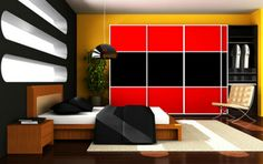 Red and black sliding doors designed by The Closet Builder.