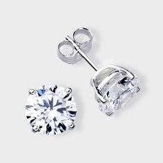 High Quality Cubic Zirconia Stud Earrings Featuring 2 0 Carat Each 8 Mm Brilliant Round