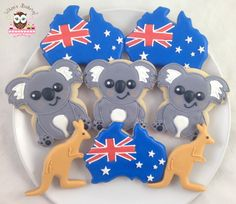 Australia cookies, red white and blue cookies, koala cookies, kangaroo cookies, Australia Day Cookies Blue Cookies, Iced Cookies, Cupcake Cookies, Sugar Cookies, Ginger Cookies, Cookie Icing, Royal Icing Cookies, Australian Party, Australian Cookies
