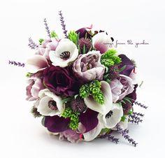 Plum Lavender Bridal Bouquet Anemones Peonies Roses Picasso Callas Groom's Boutonniere