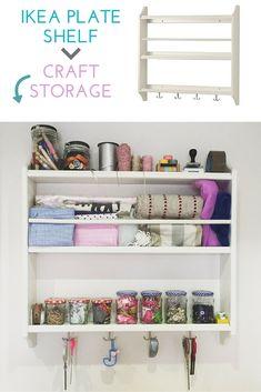 Use an IKEA STENSTORP plate shelf as craft storage. For full details: http://www.maisonbailey.com/quick-tricks/2016/1/16/craft-storage