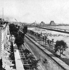 Looking north on Michigan Avenue in 1868, with the homes of prosperous businessmen on the left. Grant Park was nothing more than a marsh-filled lagoon, with rail lines on the right, between Lake Michigan and the lagoon-like area. The estimated vantage point of this photo is from where Congress Avenue is now located.