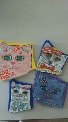 Cool painted cat rocks.