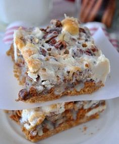 Gingerbread 7 Layer Bars. These heavenly 7 layer bars are made with gingerbread Oreos, white chocolate and cinnamon chips, pecans, and marshmallows. Simply irresistible.