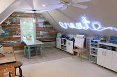 Home Tour Archives – Pretty Handy Girl, … – Creative Home Office Design Attic Craft Rooms, Attic Spaces, Studio Spaces, Workspace Design, Home Office Design, Space Crafts, Arts And Crafts, Craft Space, Art Studio Storage