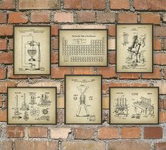 Science Patent Prints Set of 6 - Chemistry Wall Art - Periodic Table Microscope Laboratory Equipment Poster Set Of 6 - Chemist Gift Idea  These