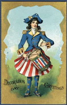 Lady Liberty - Decoration Day - Memorial Day patriotic vintage / antique postcard  drummer girl