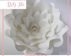 SVG Paper Flower Template, Giant Paper Flower Templates, Digital Paper Flower, Paper flower DIY, Cricut and Silhouette Ready, Base Including
