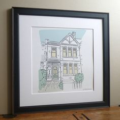 Personalised House Portrait by Letterfest, the perfect gift for Explore more unique gifts in our curated marketplace. House Illustration, Watercolor Illustration, Illustrations, You Draw, How To Draw Hands, House Sketch, House Drawing, Childrens Gifts, Detailed Drawings