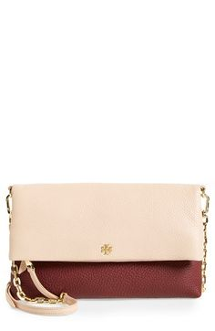 6723ac0eca6  395- color  deep berry light oak -- Tory Burch Foldover Crossbody Bag