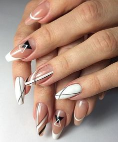Simple Line Nail Art Designs You Need To Try Now line nail art design, minimalist nails, simple nails, stripes line nail designs White Nail Designs, Nail Art Designs, Nails Design, Ligne Nail Art, Nail Art Blanc, Black Nail Art, White Nails, Lines On Nails, Geometric Nail Art