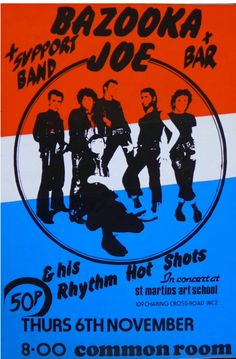 Poster from Bazooka Joe's gig at saint Martin's college of art the sex pistols were their support act