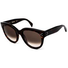 Celine CL 41755 Audrey 086/Z3 Sunglasses ($246) ❤ liked on Polyvore featuring accessories, eyewear, sunglasses, dark havana, brown gradient sunglasses, uv protection glasses, dark sunglasses, dark glasses and celine eyewear