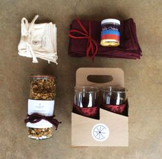 A Valentine's special for that special foodie in your life: featuring Belle Chevre Tuscan goat cheese, house made granola in a Weck jar, organic cotton napkins, and a set of glasses with Alabama Chanin cozies. $150.00.
