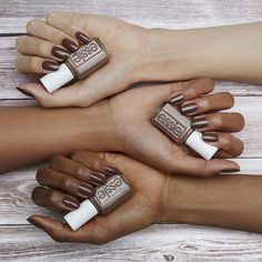 why choose? dare to wear this trusty light cinnamon brown with a hint of red nail polish shade, and you can do both. strip down and bare it all in the wildest of nude nail colors for spring. untamed, fierce and sexy, these disarming shades will totally charm the pants off one and all. get ready to expose your nails in our latest collection of essie wild nudes polish -- they look amazing on all skintones.
