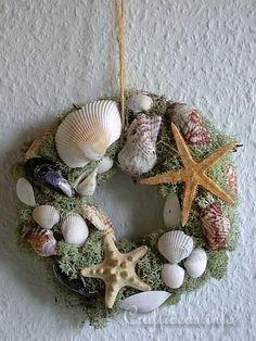 Summer Nature Craft - Natural Wreath with Maritime Motifs - Craftideas.info