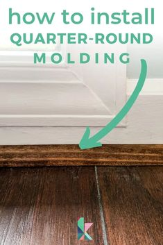 With this step-by-step tutorial with lots of photos, learn how to install quarter round or shoe molding to cover gaps between your baseboard and flooring. Dollar Tree Storage Bins, Quarter Round Molding, Painted Vinyl Floors, Shoe Molding, Crown Molding, Ikea Billy Bookcase Hack, Diy Hanging Shelves, Diy Vanity, Mason Jar Lighting