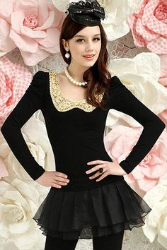 Sequined Collar Black Shirt
