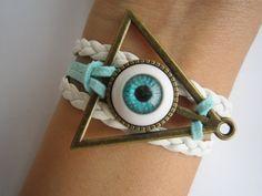 Evil Eye Bracelet Braided Bracelet Deathly Hallows by LDnest, $6.99