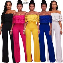 S-XXL IMYSEN Summer Fashion Jumpsuit Women Sexy Lace Romper Straight Collar New Autumn Long Jumpsuits big Size One Piece Wear(China)
