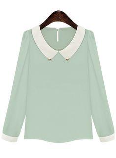 Green Contrast Lapel Long Sleeve Chiffon Blouse 16.00