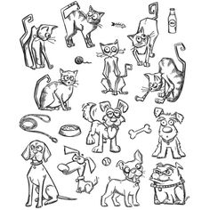 PREORDER Tim Holtz Cling Mounted Stamp Sets - MINI CATS & DOGS