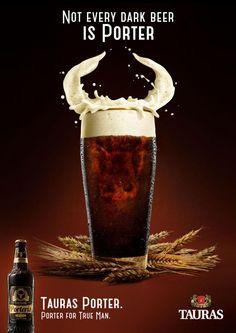 Bull - Tauras Beer Print Ad Ads Creative, Creative Advertising, Beer Advertisement, Ad Of The World, Glass Photography, Food Poster Design, Dark Beer, Buy Beer, Beer Art