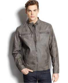 Calvin Klein Quilted Faux-Leather Moto Jacket Men - Coats   Jackets - Macy s 8fb3655a36f3
