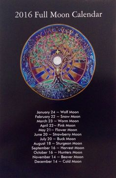 2016 Full Moon Calendar tree of life Mandala by SoulArteEclectica