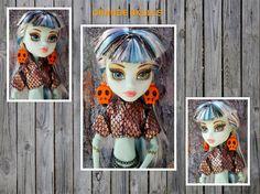 Handmade Monster High Orange Skull Face Doll by CuteWeirdFluffy