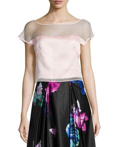 MILLY Short-Sleeve Silk Organza Top. #milly #cloth #
