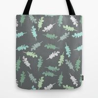 Tote Bag featuring Watercolor Painted Oak Leaves by Robin Gayl